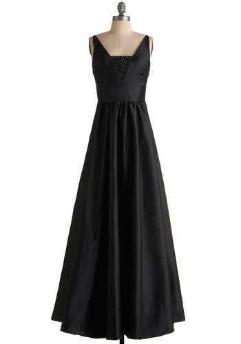Vision of Grandeur Dress - Black, Solid, Beads, Empire, Maxi, Tank top (2 thick straps), Long, Special Occasion, Wedding, Vintage Inspired, 50s
