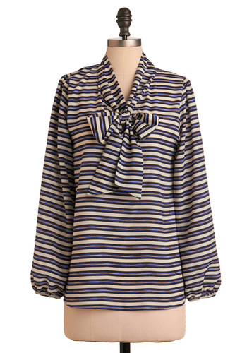 Trans-Atlantic Voyage Top - Stripes, Bows, Long Sleeve, Casual, Fall, Blue, Tan / Cream, Mid-length