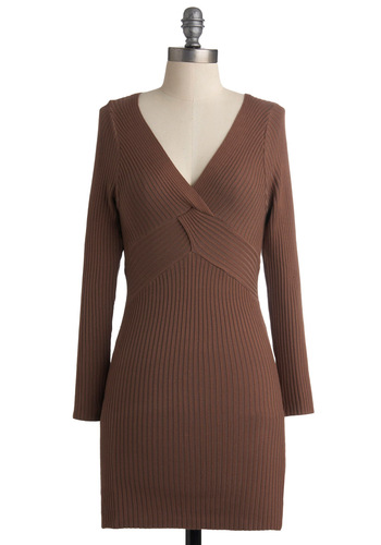 Baking Ad Lib Tunic - Brown, Solid, Woven, Sweater Dress, Long Sleeve, Knitted, Casual, Fall, Long
