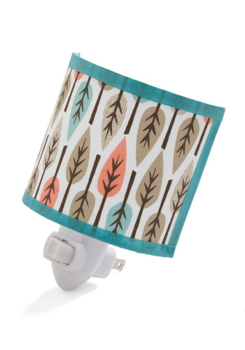 Leaf the Light On Nightlight by Whimsy Designs - Blue, White, Pink, Brown, Print