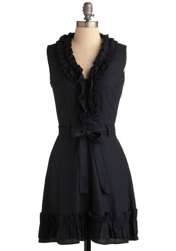 Navy Notion Dress in Midnight - Blue, Solid, Ruffles, A-line, Sleeveless, Casual, Fall, Mid-length