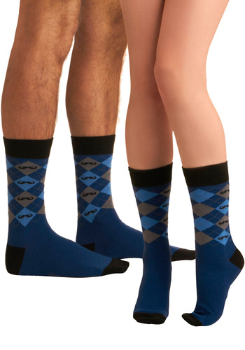 Sly Disguise Socks - Blue, Knitted, Black, Grey, Novelty Print, Argyle, Casual