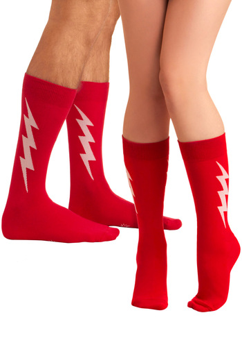 Let's Bolt Socks - Red, Knitted, Casual, Spring, White, Novelty Print