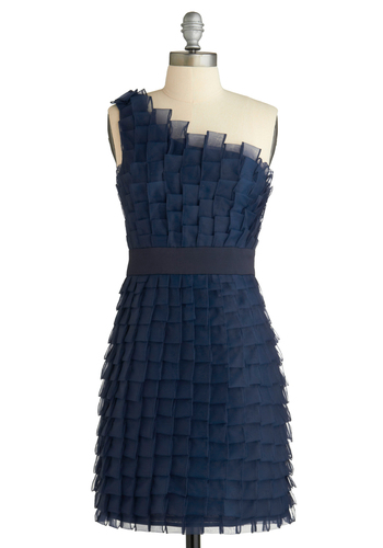 Tile Be There Dress - Blue, Ruffles, Tiered, Formal, Prom, Wedding, Party, Sheath / Shift, One Shoulder, Solid, Short