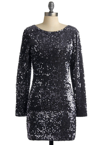 Exemplary Evening Dress by Motel - Sequins, Sheath / Shift, Long Sleeve, Silver, Party, 80s, Short