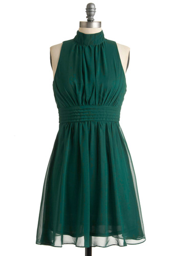 Windy City Dress in Forest - Green, Solid, Party, Vintage Inspired, A-line, Mid-length, Holiday Party, Best Seller, Sleeveless, Variation