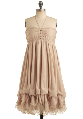 Bunches of Love Dress - Cream, Solid, Buttons, Ruffles, Casual, Empire, Strapless, Halter, Long, Summer, Wedding, Bridesmaid, Boho, Top Rated