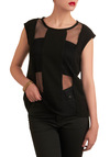 Stripe of Genius Top - Black, Solid, Cutout, Cap Sleeves, Party, Summer, Mid-length