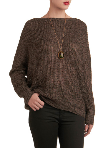 Pass the Popcorn Sweater - Brown, Black, Knitted, Casual, Long Sleeve, Fall, Mid-length