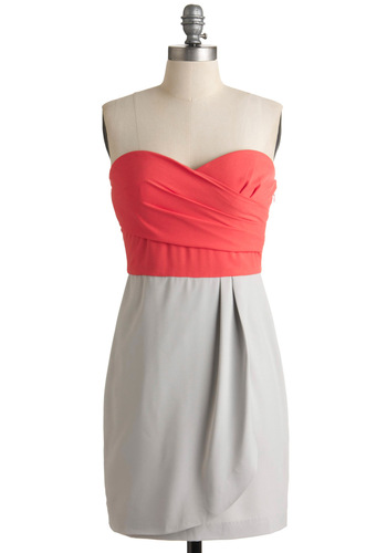 Extreme Excellence Dress - Pleats, Sheath / Shift, Strapless, Party, Twofer, Mid-length, Grey, Orange, Pink, Cocktail, Best Seller