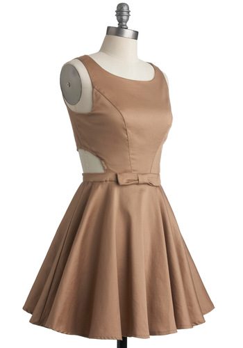 Classic Twist Dress in Khaki - Tan, Solid, Bows, Buttons, Cutout, Party, Sleeveless, Short, Cocktail, Cotton, Fit & Flare, Variation