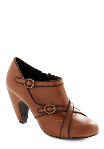 They Call Her the Wrapper Heel - Brown, Solid, Buckles, Party, Fall, Winter, Brown, Trim