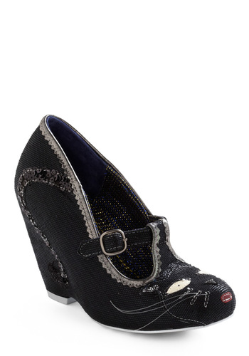 Cross Your Path Wedge by Irregular Choice - Black, Silver, Buckles, Sequins, Party, Rockabilly, Wedge, High, Best, T-Strap