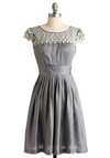 Pearl Snow Petal Dress - Silver, White, Solid, Lace, Pleats, A-line, Cap Sleeves, Grey, Special Occasion, Wedding, Party, Mid-length, Spring