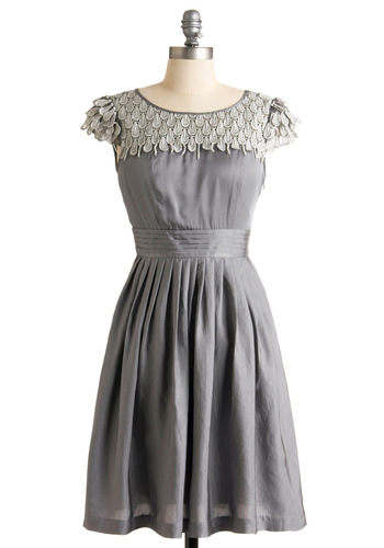 Pearl Snow Petal Dress - Silver, White, Solid, Lace, Pleats, A-line, Cap Sleeves, Grey, Formal, Wedding, Party, Mid-length, Spring