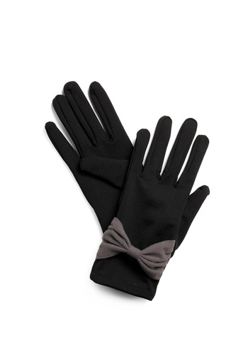 Heading Downtown Gloves - Black, Grey, Solid, Bows, Casual, Winter, Holiday Sale