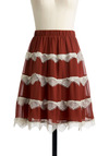 Love in Literature Skirt - Red, White, Lace, Orange, Solid, Scallops, Casual, A-line, Fall, Mid-length