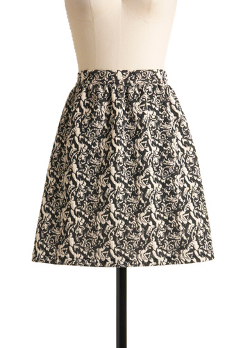 Ornate the Great Skirt - Print, Casual, A-line, Fall, Winter, Mid-length, Tan / Cream, Black