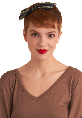 Pleasant Presence Headband - Blue, Green, Tan / Cream, Stripes, Bows, Casual, Menswear Inspired, Fall