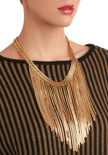 Awaited Smooch Necklace - Gold, Chain, Party
