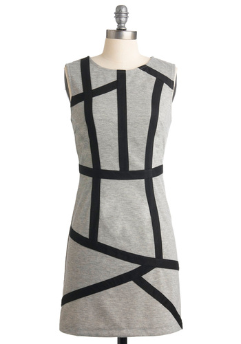 Rock the Lines Dress - Grey, Black, Shift, Sleeveless, Party, Fall, Short