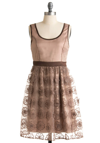Chestnut Roasting Dress by Ryu - Brown, Pink, Floral, Embroidery, Party, A-line, Tank top (2 thick straps), Fall, Mid-length
