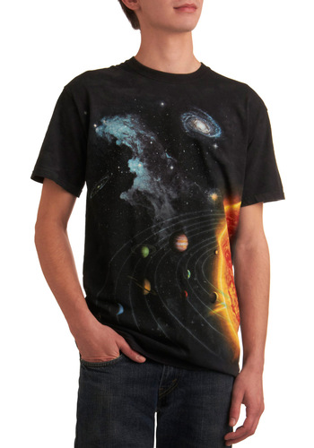Let's Do Launch Men's Tee - Black, Print, Short Sleeves, Multi, Casual, Summer, Long, Cotton, Guys, Cosmic