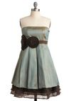 All's Well that Pinwheel Dress by Ryu - Blue, Brown, Solid, Pleats, Tiered, Special Occasion, Wedding, Party, A-line, Empire, Strapless, Mid-length, Prom