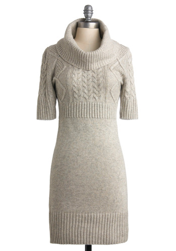 Changing Seasons Dress in Winter Grey - Grey, Solid, Knitted, Casual, Shift, Sweater Dress, 3/4 Sleeve, Winter, Mid-length
