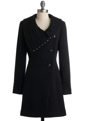Hollywood Skyline Coat - Black, Solid, Winter, Long, 3, Black
