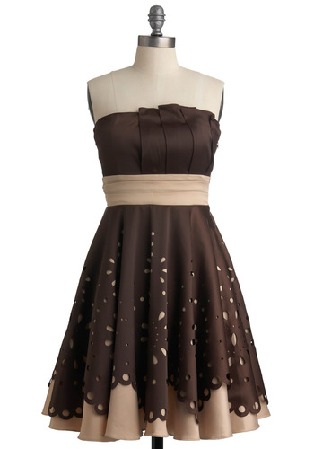 Hazelnut Niche Dress by Ryu - Brown, Tan / Cream, Solid, Cutout, Tiered, Party, A-line, Empire, Strapless, Scallops, Fall, Formal, Prom, Wedding, Long