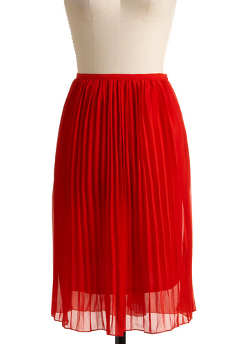 Bold Flame Skirt - Red, Pleats, Party, Fall, Solid, Long