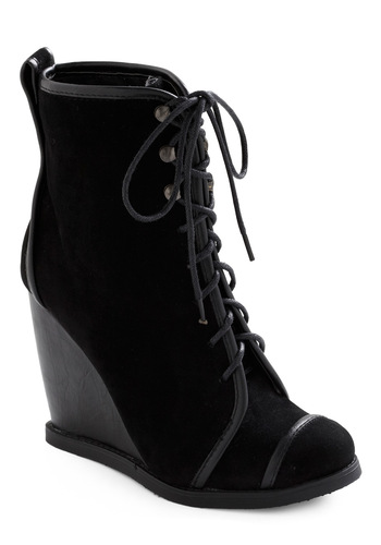 Along for the Sleigh Ride Boot - Black, Solid, Trim, Casual, Winter, Wedge