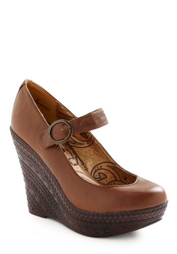 Going for a Spin Wedge - Brown, Solid, Buckles, Casual, Fall, Wedge