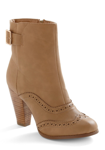 Trim the Twee Boot - Tan, Solid, Buckles, Party, Casual, Winter