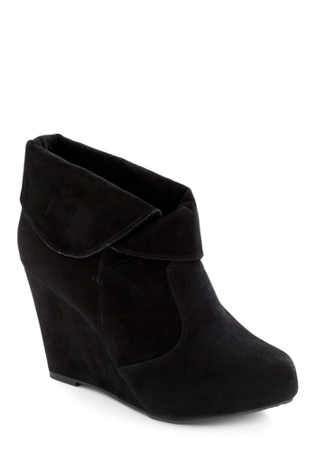 Midnight Flight Wedge - Black, Solid, Casual, Winter, Wedge