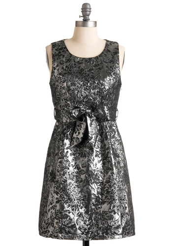 Proclaiming Pretty Dress - Silver, Floral, Shift, Sleeveless, Grey, Bows, A-line, Party, Mid-length