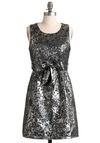 Proclaiming Pretty Dress - Silver, Floral, Sheath / Shift, Sleeveless, Grey, Bows, A-line, Party, Mid-length