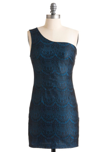 Chandelier and Dear Dress - Blue, Black, Lace, Shift, One Shoulder, Party, Summer, Short