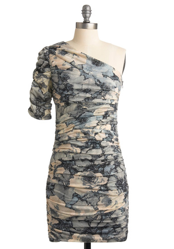 In a Ruche Dress - Tan / Cream, Floral, Shift, One Shoulder, Grey, Party, Spring, Fall, Blue, Short