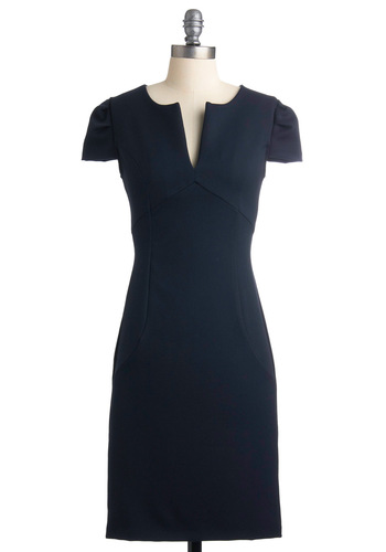 Chic & Him Dress - Blue, Solid, Shift, Cap Sleeves, Work, Mid-length