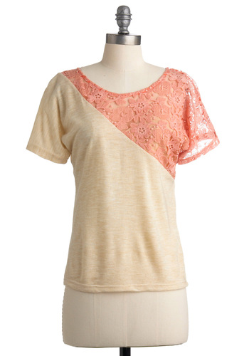Meet You by Bicycle Top - Cream, Pink, Lace, Short Sleeves, Casual, Spring, Fall, Mid-length, Vintage Inspired, 80s