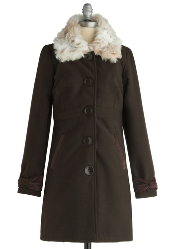 Ganache and Golly Coat - Brown, Tan / Cream, Solid, Buttons, Pockets, Party, Long Sleeve, Winter, Long, 3