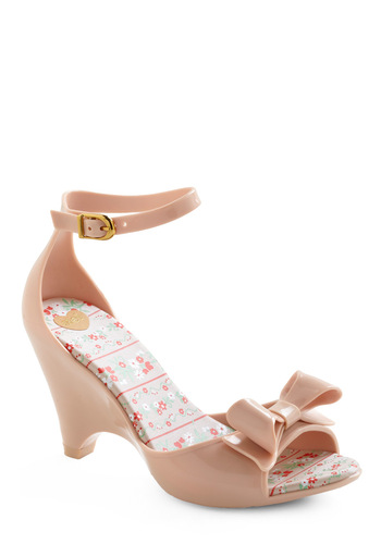 Today's News Heel in Neutral by Melissa Shoes - Tan, Bows, Special Occasion, Wedding, Party, Vintage Inspired, Summer