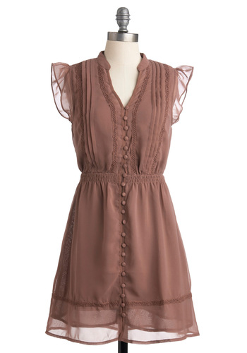 Picking Presents Dress - Brown, Solid, Buttons, Crochet, Ruffles, Casual, A-line, Cap Sleeves, Spring, Mid-length