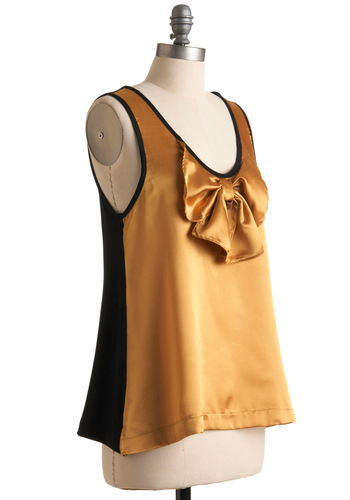 Festivity for All Top - Gold, Black, Solid, Bows, Party, Tank top (2 thick straps), Winter, Mid-length