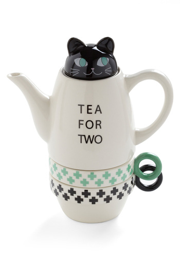 Paw Me a Cup Tea Set in Kitten - White, Green, Black