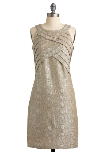 All That Glimmers Dress by Max and Cleo - Silver, Gold, Silver, Gold, Solid, Pleats, Sheath / Shift, Tank top (2 thick straps), Formal, Party, 60s, Halter, Mid-length