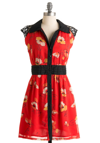My Designer Friend Dress - Red, Multi, Red, Orange, Yellow, Black, White, Floral, Buttons, Lace, Party, 60s, Shirt Dress, Cap Sleeves, Summer, Mid-length