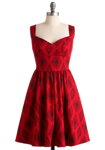 Westward Excursion Dress by Nooworks - Red, Black, Print, Casual, A-line, Tank top (2 thick straps), Mid-length, Fit & Flare, Sweetheart, Cotton